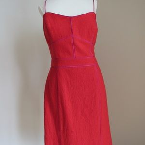Banana Republic red a-line thin strap midi dress